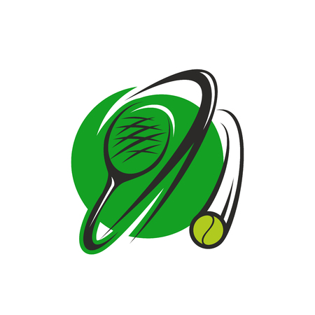 Tennis sport round symbol with ball and racket. Flying tennis ball and racket green icon for tennis sport club, sporting tournament and competition design Illusztráció