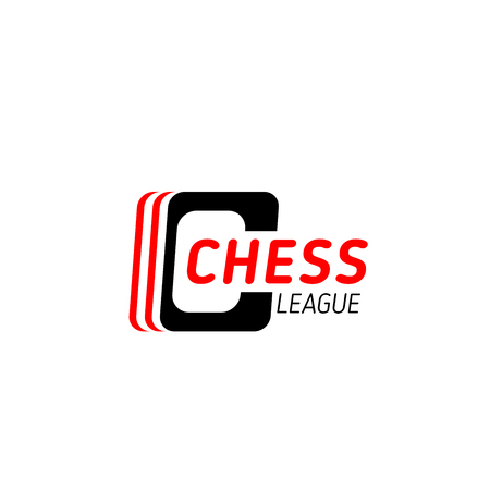 Chess league symbol for sporting competition branded emblem template. Black and red corporate identity font of capital letter C for chess sport club or tournament symbol design