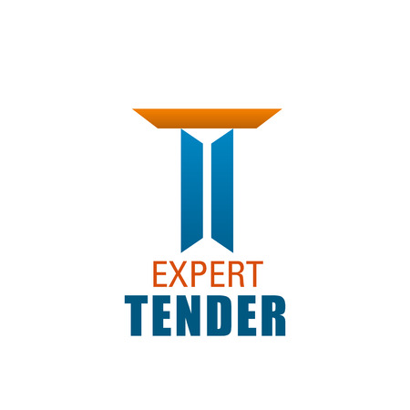 T letter icon for expert tender company. Vector letter T geometric shape symbol template for commercial or bank tender and trade specialist agency in trendy modern orange and blue color