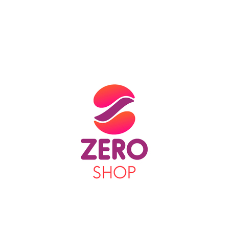 Zero shop vector icon in pink and magenta colors. Concept of shopping and sale creative icon. Colorful vector design for chain stores. Abstract badge for advertising in shopping centers 向量圖像