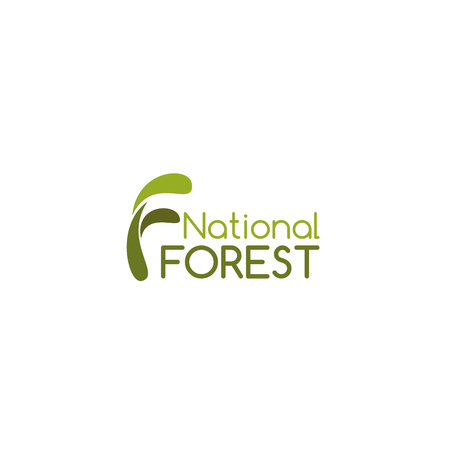 National forest green icon isolated on a white background. Concept of national park and nature care, environmental ecology and wild nature. Camping and nature exploration symbol, outdoor activity Illustration