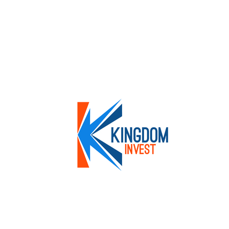 Kingdom invest vector sign isolated on white background. Insurance company icon in orange and blue colors. Finance company or investment business concept, creative badge
