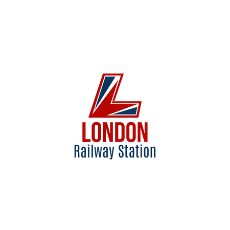 London railway station vector icon isolated on white background. Symbol of locomotive or train, abstract badge in red and blue colors. Concept of transport and subway, railway station for passengers