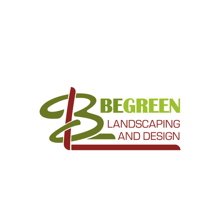 Landscaping and green design letter B icon of tree for landscape designing studio. Vector letter B symbol for horticulture and eco garden landscape build, maintain and design service company 向量圖像
