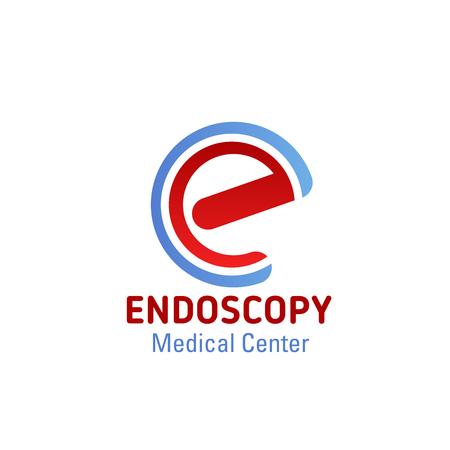 Icono de centro médico de endoscopia de la letra E en forma de endoscopio. Diseño de la letra E del vector para la atención médica y el examen de órganos del cuerpo, hospital médico o clínica de cirugía y centro de terapia de tratamiento