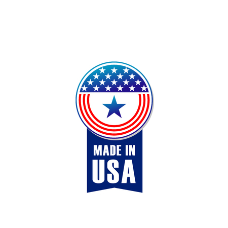 Made in USA vector sign isolated on a white background. Creative badge in colors of United States flag with stars. Emblem in red and blue colors for branding products made in USA