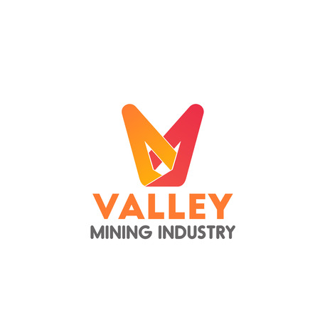 Valley mining industry vector icon, concept of fintech and digital finance industry. Creative badge for mining money business isolated on white background. Concept of cryptocurrency mining