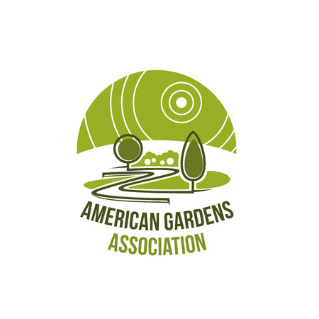 Garden association icon for landscaping studio template.Green tree plant and eco park grass lawn isolated round badge for landscape design, gardedning and lawn care service design