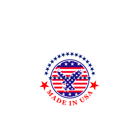 Vector icon made in USA isolated on a white background. Creative patriotic badge with eagle and flag of USA. Emblem for branding of products made in United States of America