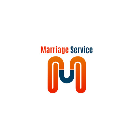Marriage service vector sign isolated on a white background. Concept of love and relationships, branding of wedding agency. Creative design for marriage company