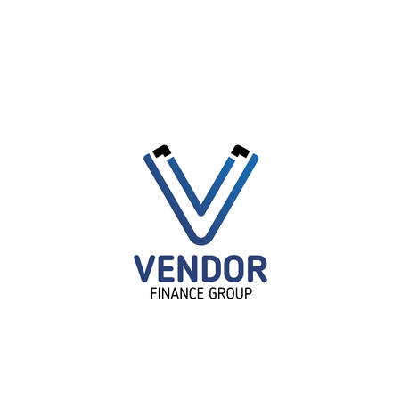 Vendor Finance Group symbol for business card template. Modern corporate identity font of blue alphabet letter V isolated icon for financial, accounting or investment company branding design