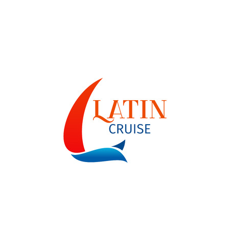 Latin cruise vector sign isolated on white background. Ocean ship sign, concept of recreation on cruise liner. Creative badge for travel agency, tourism and vacation concept