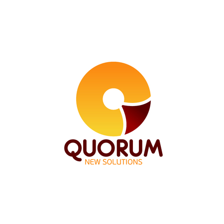 Quorum icon with modern letter Q for corporate identity template of business meeting or shareholder assembly. Alphabet symbol q with orange and brown circle for business card or emblem design Stock Vector - 114519894