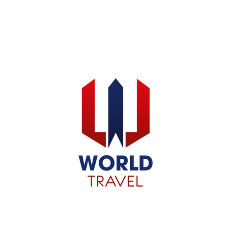 World travel company or touristic agency letter W icon of airplane or aircraft wings. Vector isolated symbol of blue and red letter W for travel company or tourism journey and trip voyage service