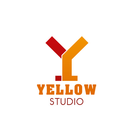 Y letter icon for yellow studio of advertising and art design agency or interior and construction designer project. Vector isolated letter Y for professional sport and fitness workshop