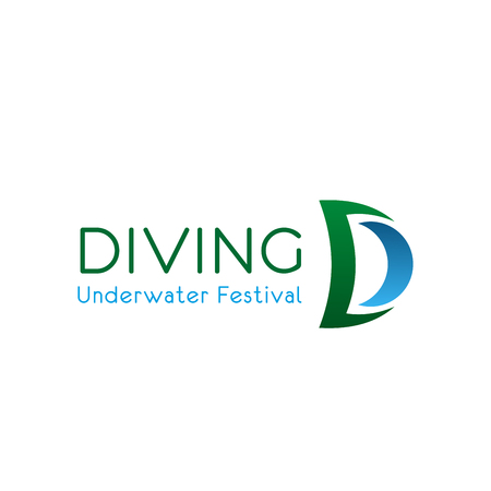 Diving underwater festival vector sign. Concept of swimming sport and snorkeling. Seasonal diving sport and swimming festival concept. Creative vector badge for summer sportive event