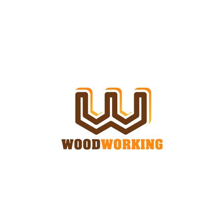 Houtbewerking icoon voor timmerwerk en houtwerk winkel merk embleem ontwerp. Bruin en oranje alfabet symbool van letter W. Huisstijl lettertype voor houtindustrie bedrijf visitekaartjesjabloon business Vector Illustratie