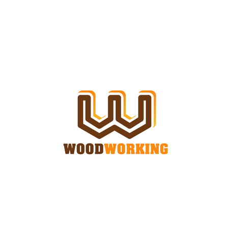 Woodworking icon for carpentry and woodwork shop branded emblem design. Brown and orange alphabet symbol of letter W. Corporate identity font for timber industry company business card template Ilustracja