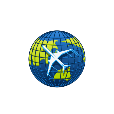 Globe and plane icon for travel agency or transportation and mail post logistics company. Vector isolated airplane flying around world globe earth for airlines or tourism symbol Foto de archivo - 114519937