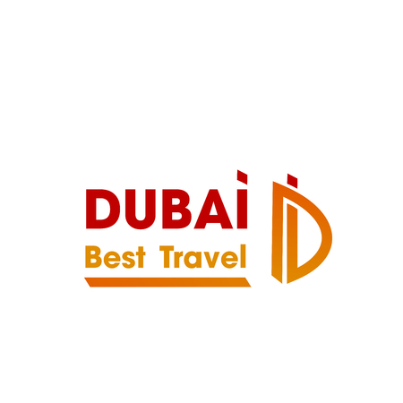 Letter D icon template for travel agency or Dubai tourism and touristic company. Vector isolated curved line symbol of Letter D in orange and red color for Arab Emirates travel destination