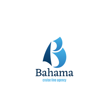 World cruise line agency. Ship traveling concept vector icon. Sign for travel agency Bahama. Traveling and vacation concept Globe and cruise ship vector icon in blue color. Symbol of cruise liner ship
