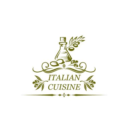 Icona isolata della cucina italiana di olio d'oliva e olive per ristorante tradizionale o bar o cucina nazionale. Disegno vettoriale di olio d'oliva da cucina tradizionale italiano naturale