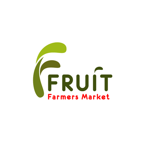 Fruit farmer market letter F icon for eco food store or healthy bio product supermarket or grocery design. Vector isolated green letter F for vegetarian vegetable and fruit food and drink trade