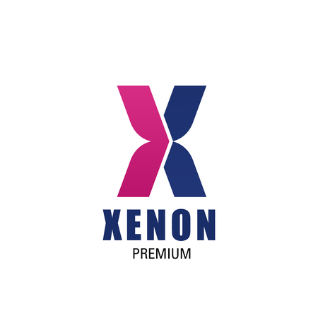 Creative design with letter X. Xenon premium vector design. Abstract icon in blue and magenta colors isolated on white background. Creative sign for chemical company or laboratory