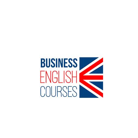 Business-Englisch-Kurse Vektorzeichen isoliert auf weißem Hintergrund. Fremdsprachenkonzept studieren. Kreativ-Abzeichen für Englisch-Sprachschulen oder Kurse für Erwachsene