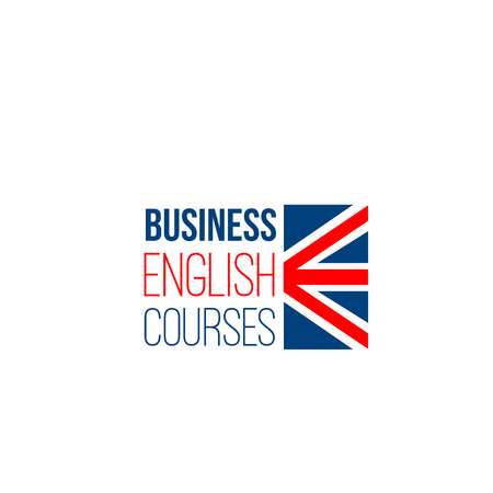 Business English courses vector sign isolated on a white background. Studying foreign languages concept. Creative badge for English language school or courses for adults Vettoriali