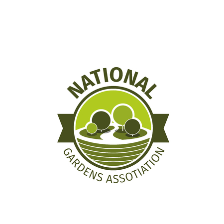National gardens association vector sign in green colors. Creative bridge with green trees for gardening company or eco-business. Emblem symbol of saving nature and environment care