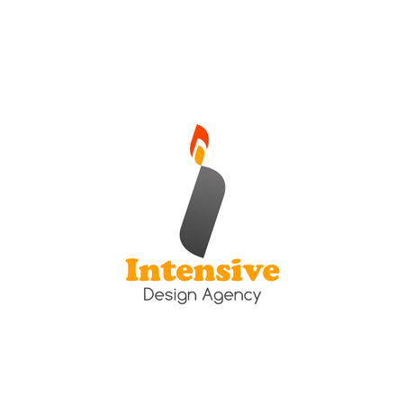 Intensive design agency vector icon. Creative emblem for web design company isolated on a white background. Vector badge with lighter, concept of idea, brand and creative business Çizim