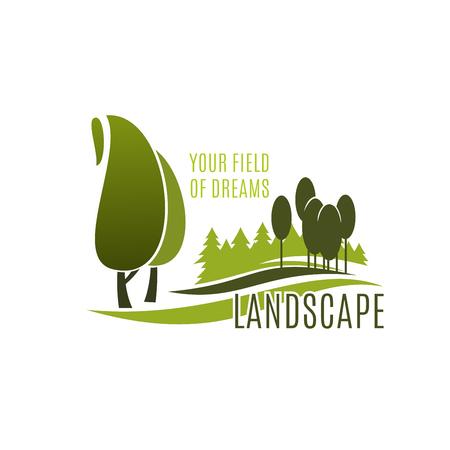 Landschap ontwerp icoon met groene boom plant. Ecologie natuur landschap van zomertuin en openbaar plein geïsoleerd symbool voor landschapsarchitectuur studio, tuinieren en gazon zorg service design