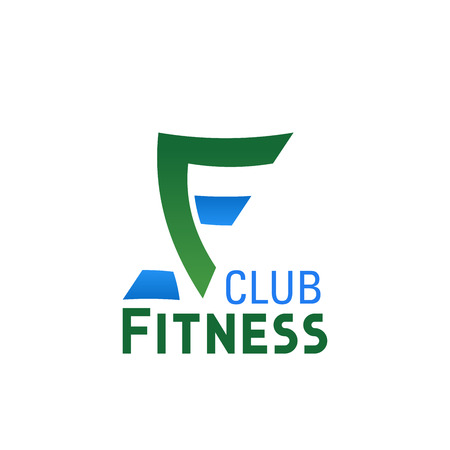 Fitness club or gym and sport center icon of letter F. Vector isolated letter F for bodybuilding gym or weightlifting and powerlifting sport club or fitness studio design