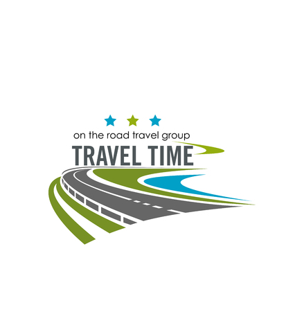Travel time group company label. Vector poster with road for tourism company. Vector label with roadway path and traffic lines. Vector poster for travel group company with stars and highway
