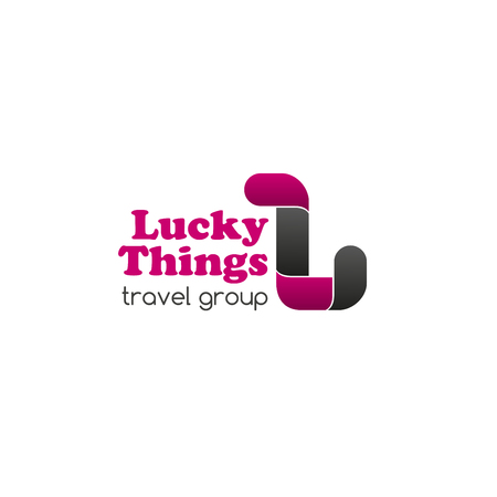 Lucky things travel group creative emblem. Vector sign in magenta and gray colors for tourism company or group of companies. Travel around world concept. Abstract badge isolated on white background.