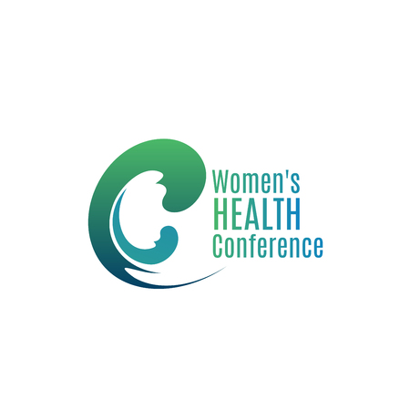 Woman health conference vector sign isolated on a white background. Concept of healthy lifestyle and medical discussion. Society problems and medicine consultations symbol