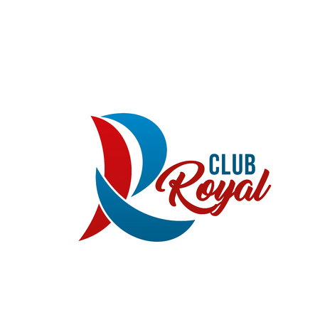 Royal club icon of R letter for yacht club or yachting sport. Vector isolated letter R in shape of boat or ship sail for marine sport or privilege man travel and trip adventure in modern trendy colors  イラスト・ベクター素材