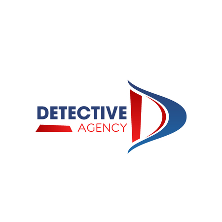 Detective agency D letter icon for investigation and police private investigator service. Vector isolated letter D for spy agent company or secret files criminal inspector department