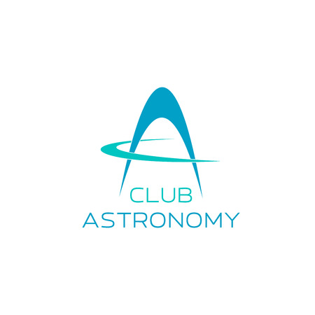 Astronomy symbol for science club emblem design. Abstract modern font of alphabet letter A, composed of blue planetary rings for observatory or planetarium corporate identity template