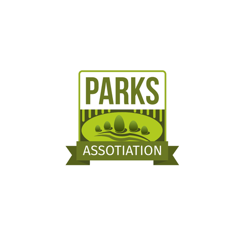 Garden and yard landscaping label of park association template. Green nature landscape with tree and decorative plants isolated badge with ribbon banner for landscape architecture studio design