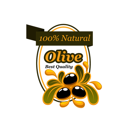 Olive natural product icon for food packaging label template. Black olive fruit with bunch of green leaf and oil drop splash badge, decorated by ribbon banner for olive oil product design