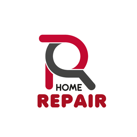 Home repair creative vector sign. Home service or house renovation vector icon. Home construction concept, fixing roof, housing service. Real estate business, icon for home repair company.