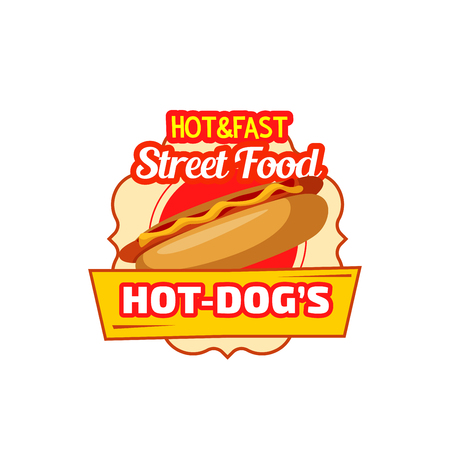 Hot dog street food icon for cinema fast food bar snack menu. Vector isolated sign of sausage sandwich with mustard and ketchup for fastfood restaurant, bistro or delivery and takeaway Illustration