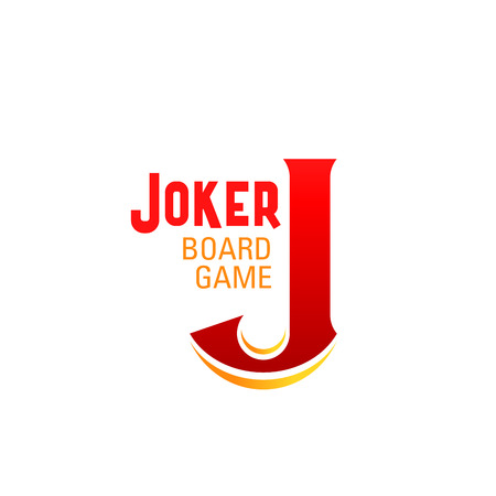 Joker board game letter J icon for table game or boardgame family entertainment and leisure design. Vector letter J for educational or kid and children fun casino poker games