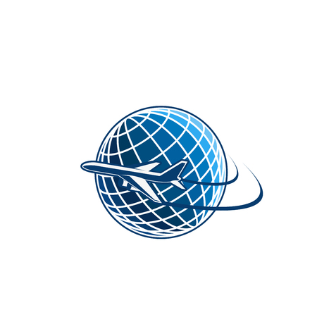 Blue and white color vector design with airplane and planet Earth. Abstract design airplane fly around the planet. Vector emblem for travel agency or travel company. Concept of traveling or vacation Vectores