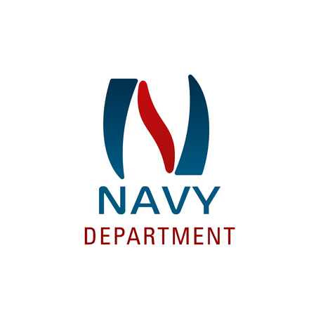 Navy department symbol for nautical company branded emblem design. Abstract font of blue and red alphabet letter N for marine club branding and sea travel agency business card template