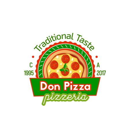 Don pizza vector sign. Traditional taste colorful emblem of tasty pizza with sausage and cheese. Fast food concept. Restaurant or pizzeria, cafe or lunch bar badge isolated on white background