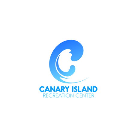 Canary island recreation center vector sign isolated on a white background. Concept of beauty business, wellness and spa center. Vector design for luxury resorts and alternative therapy
