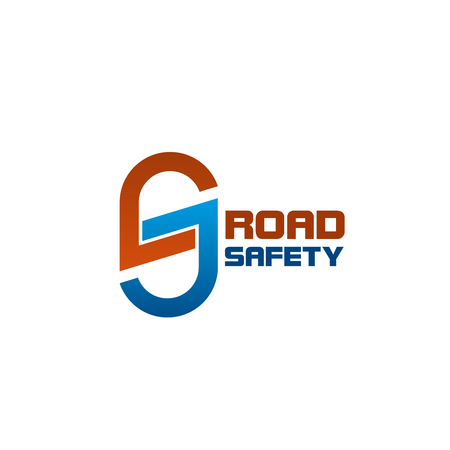 Road safety S letter icon for highway repair or motorway transportation roads and construction company. Vector isolated S letter sign for tunnel roadway and transport roads building